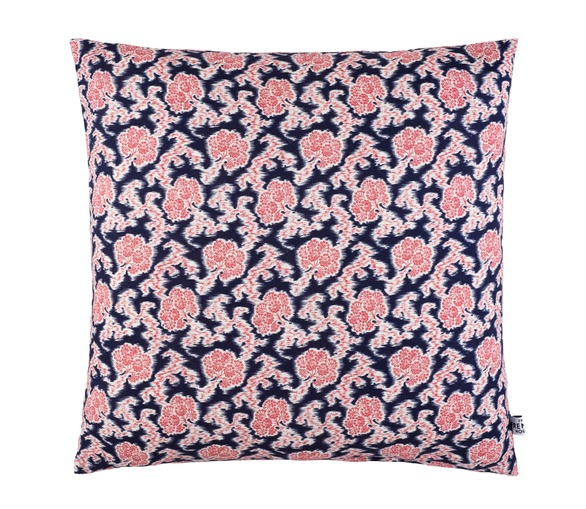 Ombelles Cushion, pink & navy